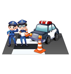Police officers at the road vector