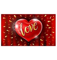 red heart ballons love text air golden vector image