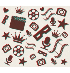 Retro 3d cinema background vector image vector image