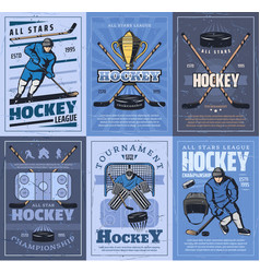 Retro ice hockey sport player arena trophy cup vector