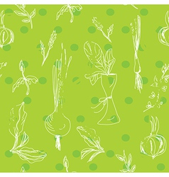 Salad vegetables seamless pattern vector image
