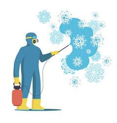 Sanitary workers in protective suits vector