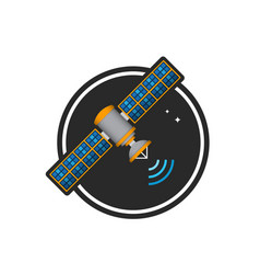 satellite color logo vector image