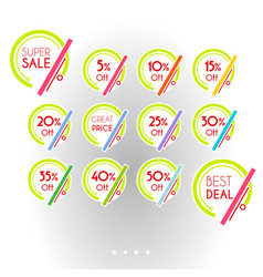 set of colorful minimalist graphic sale stickers vector image