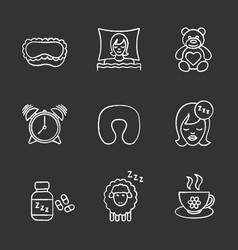 sleeping accessories chalk icons set vector image