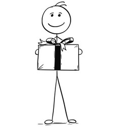 Smiling man holding large gift present box vector