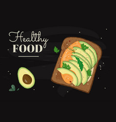 Tasty sandwich with fresh cut avocado salmon vector
