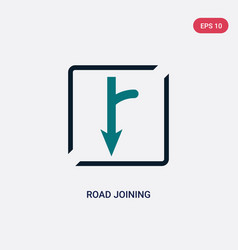 Two color road joining icon from maps and flags vector