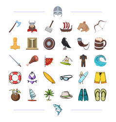 Vikings weapons symbols and other web icon in vector