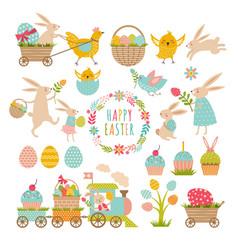 vintage elements set easter theme rabbits vector image