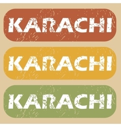 Vintage Karachi stamp set vector