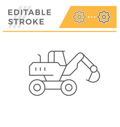 Wheel excavator line icon vector