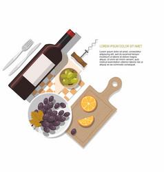 wine bottle olives and grapes on white tasting vector image