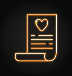 wish list icon in neon line style vector image