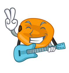 With guitar eat corn nuts in cartoon shape vector