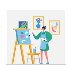 Woman artist draw picture character female paint vector