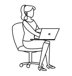 young woman sitting in office chair with laptop vector image