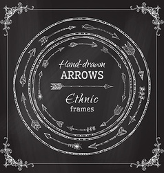 Chalk round frames of ethnic arrows vector image
