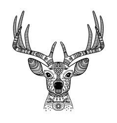 Deer head with floral ornament vector image vector image