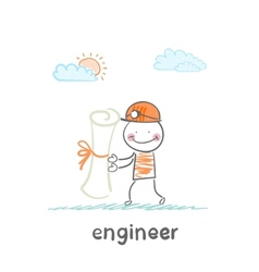 engineer holding a paper vector image vector image