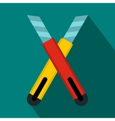 Two construction utility knives icon flat style vector image