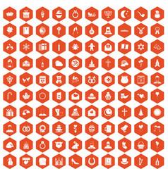 100 religious festival icons hexagon orange vector