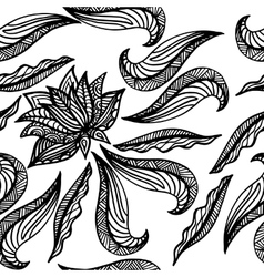 Black white seamless pattern with lotus Boho vector image vector image