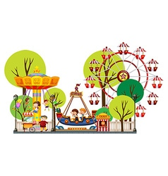 Children playing in the theme park vector image vector image