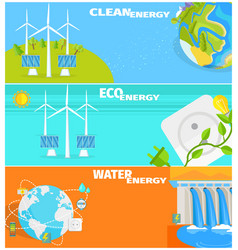 clean eco water and wind energy set vector image