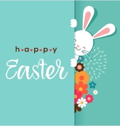 Colorful Happy Easter greeting card with rabbit vector image vector image