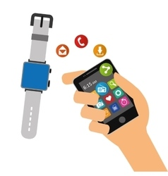 hand hold smartphone smart watch sharing element vector image