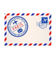 international air mail envelope from paris with vector image vector image