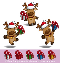 Santas Elks Holding a Gift vector image vector image