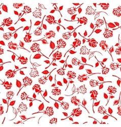 Seamless blooming roses and buds pattern vector image vector image