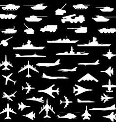 set of aircraft armored ships and guns vector image vector image