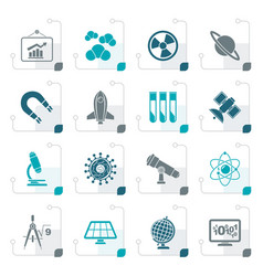 stylized science research and education icons vector image