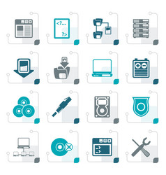 stylized server side computer icons vector image