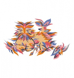 Animals in the leaves vector image