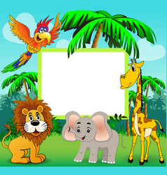 Background with giraffe elephant lion and parrot vector