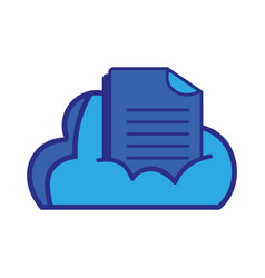 cloud data with digital document information vector image vector image