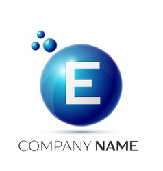 E letter splash logo blue dots and circle bubble vector