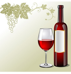 glass of red wine with bottle vector image