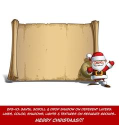 Happy Santa Scroll Sack of Gifts vector image vector image