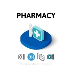 Pharmacy icon in different style vector