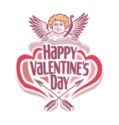 valentines day with cupidon vector image vector image