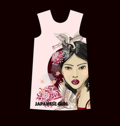 design dress with fashion japanese girl vector image