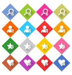 Flat addition icon rhombus web button vector