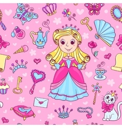 Seamless pattern with cute little princess vector image vector image