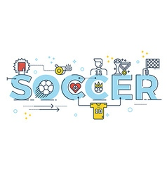 Soccer word lettering vector image vector image