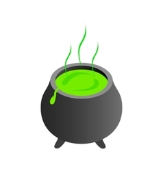 Witch cauldron with green potion vector image